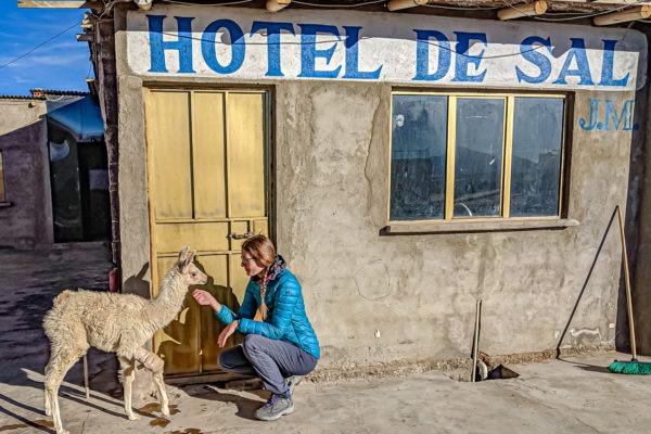 Hotel in Bolivia made of salt entrance