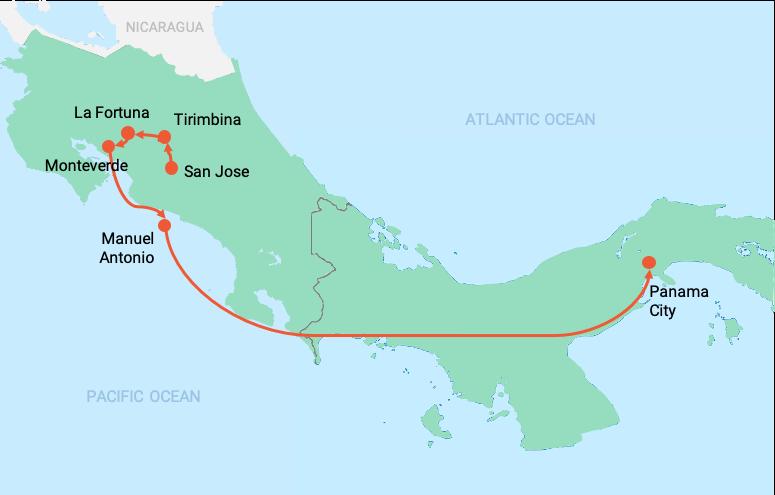 colibri-Costa Rica and Panama map