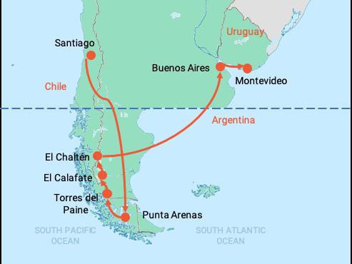 colibri-Patagonia map