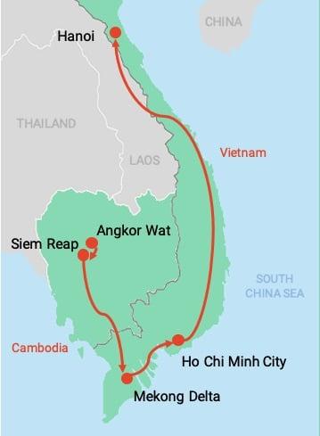 colibri-Map Cambodia and Vietnam